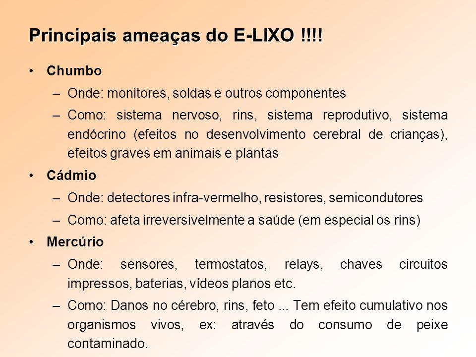 Principais ameaças do E-LIXO !!!! Chumbo –Onde: monitores, soldas e outros componentes –Como: sistema nervoso, rins, sistema reprodutivo, sistema endó