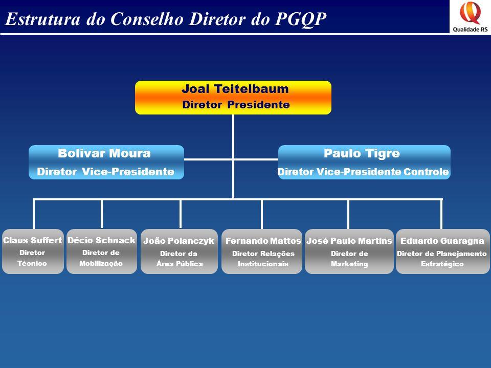Estrutura do Conselho Diretor do PGQP Joal Teitelbaum Bolivar Moura Diretor Presidente Diretor Vice-Presidente Paulo Tigre Diretor Vice-Presidente Con