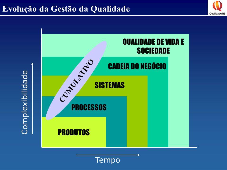 Evolução da Gestão da Qualidade PRODUTOS PROCESSOS SISTEMAS CADEIA DO NEGÓCIO QUALIDADE DE VIDA E SOCIEDADE Complexibilidade Tempo CUMULATIVO