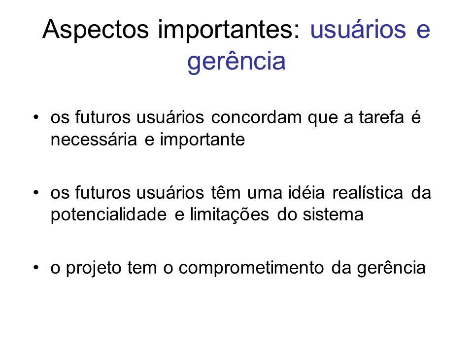Aspectos importantes: usuários e gerência os futuros usuários concordam que a tarefa é necessária e importante os futuros usuários têm uma idéia realí