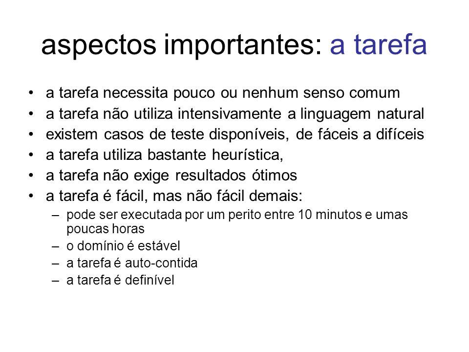 aspectos importantes: a tarefa a tarefa necessita pouco ou nenhum senso comum a tarefa não utiliza intensivamente a linguagem natural existem casos de