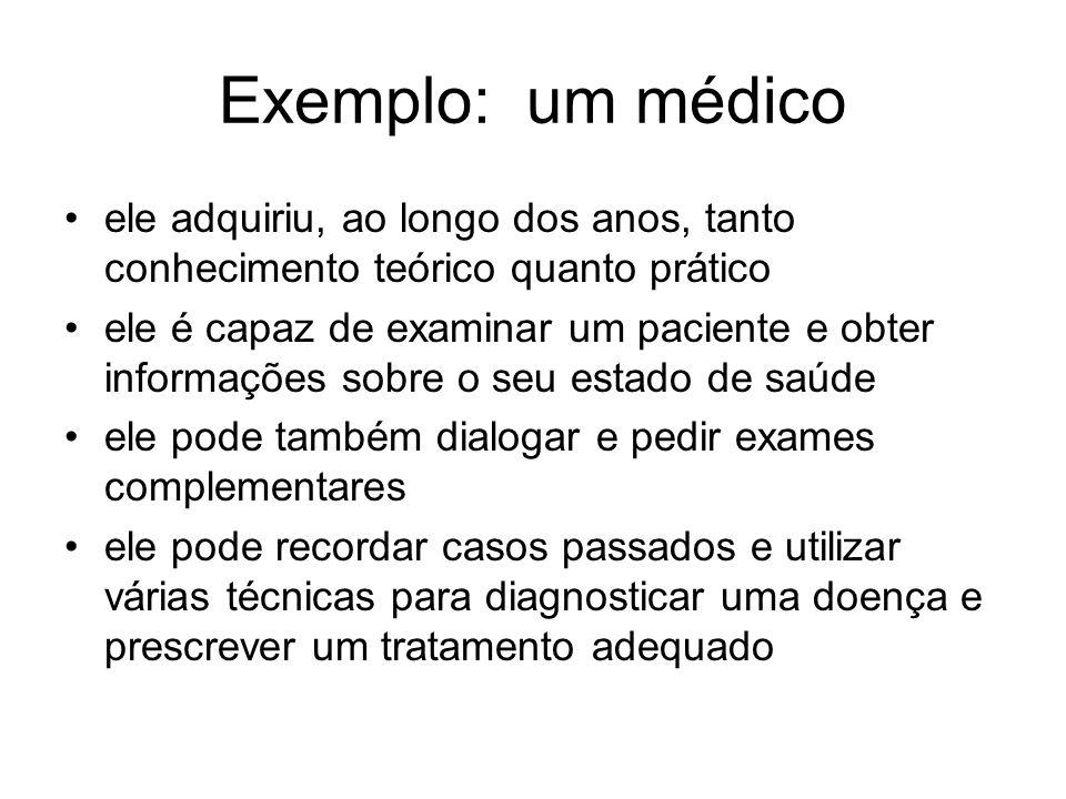 Exemplo: um médico ele adquiriu, ao longo dos anos, tanto conhecimento teórico quanto prático ele é capaz de examinar um paciente e obter informações