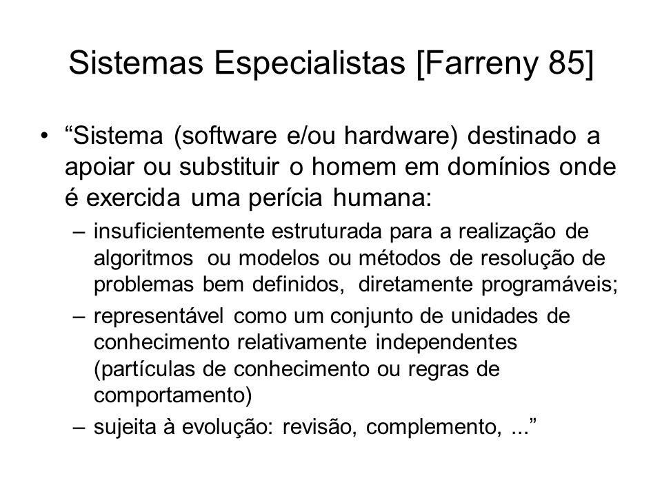 Sistemas Especialistas [Farreny 85] Sistema (software e/ou hardware) destinado a apoiar ou substituir o homem em domínios onde é exercida uma perícia