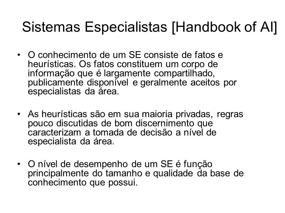 Sistemas Especialistas [Handbook of AI] O conhecimento de um SE consiste de fatos e heurísticas. Os fatos constituem um corpo de informação que é larg
