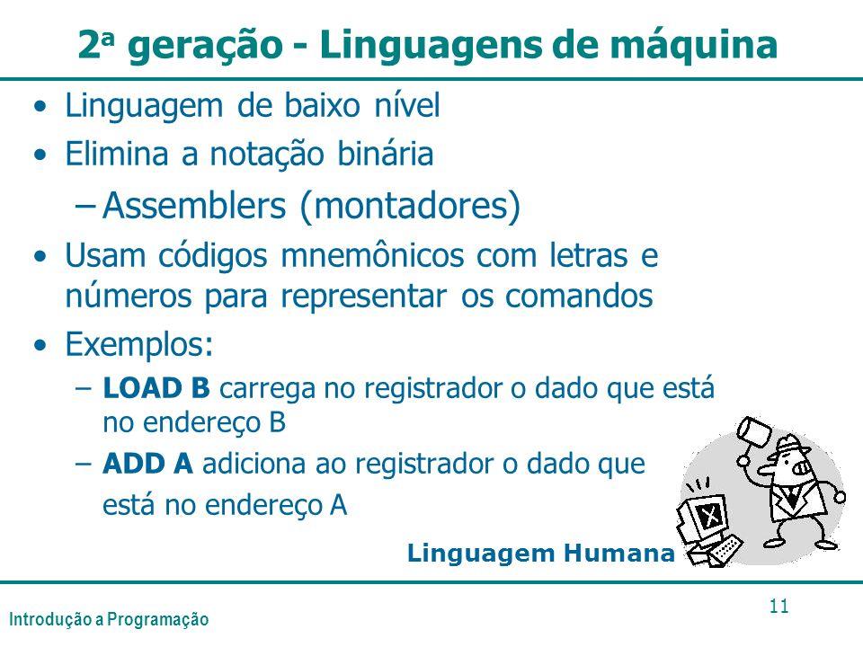 Introdução a Programação 11 2 a geração - Linguagens de máquina Linguagem de baixo nível Elimina a notação binária –Assemblers (montadores) Usam códig