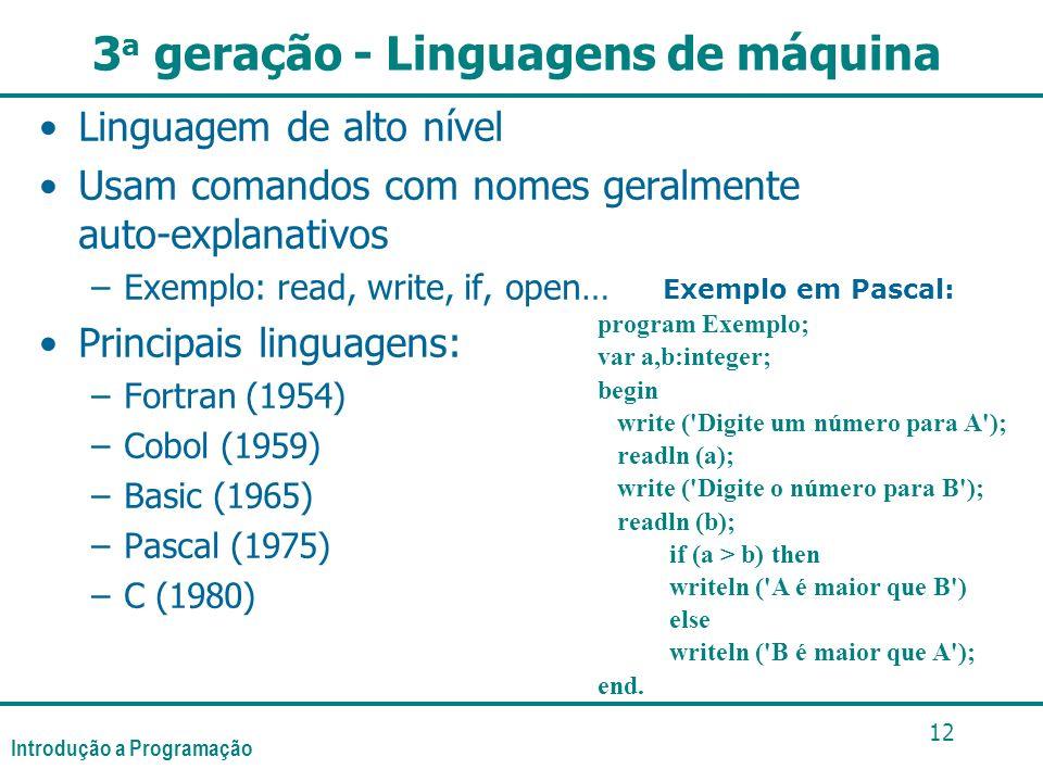 Introdução a Programação 12 3 a geração - Linguagens de máquina Linguagem de alto nível Usam comandos com nomes geralmente auto-explanativos –Exemplo: read, write, if, open… Principais linguagens: –Fortran (1954) –Cobol (1959) –Basic (1965) –Pascal (1975) –C (1980) Exemplo em Pascal: program Exemplo; var a,b:integer; begin write ( Digite um número para A ); readln (a); write ( Digite o número para B ); readln (b); if (a > b) then writeln ( A é maior que B ) else writeln ( B é maior que A ); end.