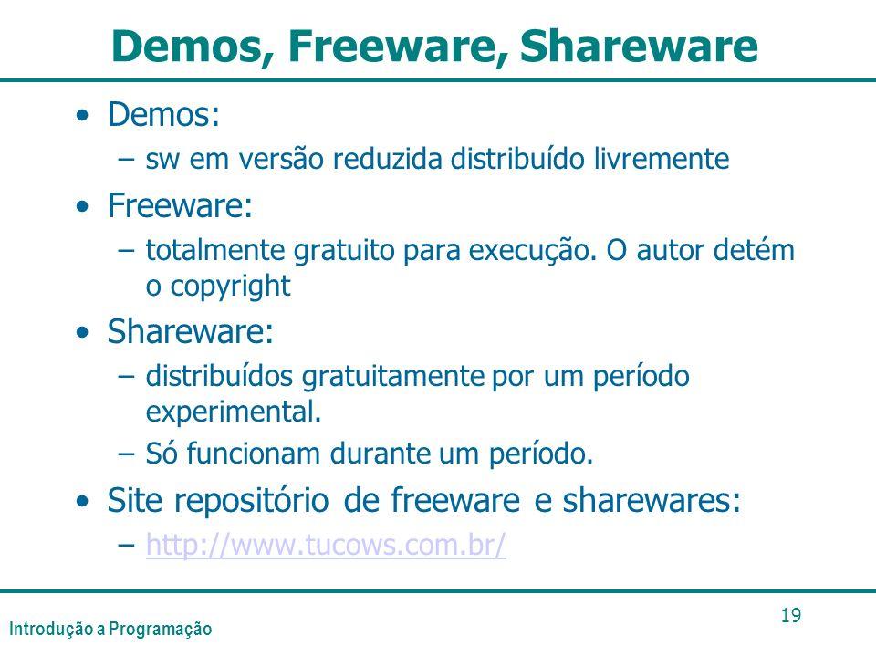 Introdução a Programação 19 Demos, Freeware, Shareware Demos: –sw em versão reduzida distribuído livremente Freeware: –totalmente gratuito para execuç