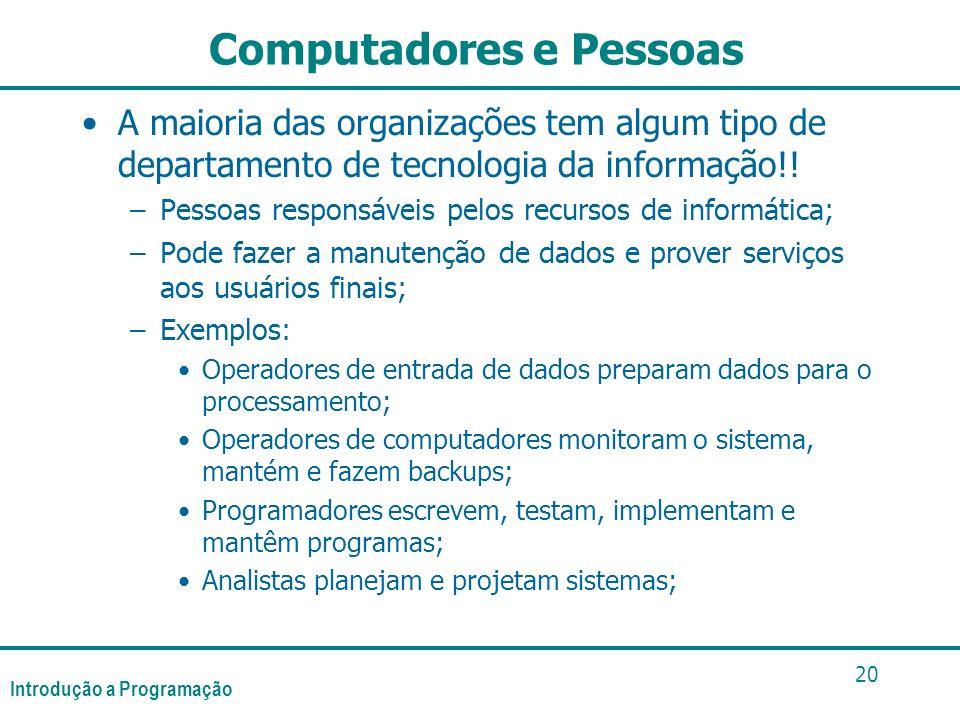 Introdução a Programação 20 Computadores e Pessoas A maioria das organizações tem algum tipo de departamento de tecnologia da informação!! –Pessoas re