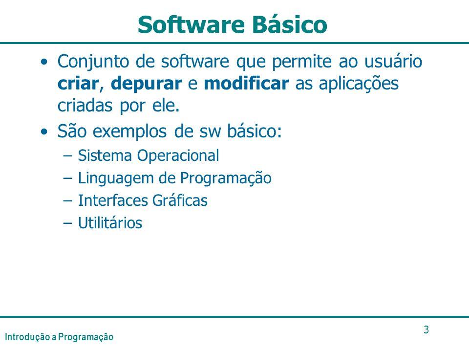 Introdução a Programação 3 Software Básico Conjunto de software que permite ao usuário criar, depurar e modificar as aplicações criadas por ele. São e