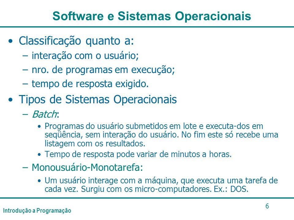 Introdução a Programação 6 Classificação quanto a: –interação com o usuário; –nro. de programas em execução; –tempo de resposta exigido. Tipos de Sist