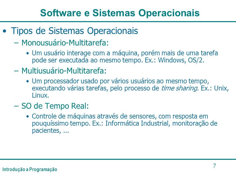 Introdução a Programação 7 Tipos de Sistemas Operacionais –Monousuário-Multitarefa: Um usuário interage com a máquina, porém mais de uma tarefa pode ser executada ao mesmo tempo.