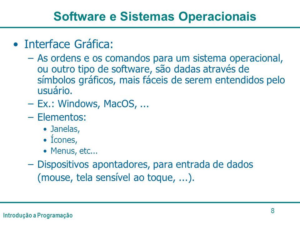 Introdução a Programação 8 Interface Gráfica: –As ordens e os comandos para um sistema operacional, ou outro tipo de software, são dadas através de símbolos gráficos, mais fáceis de serem entendidos pelo usuário.