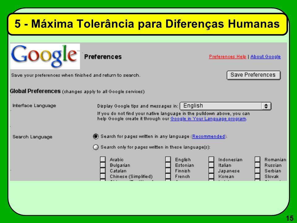 15 5 - Máxima Tolerância para Diferenças Humanas