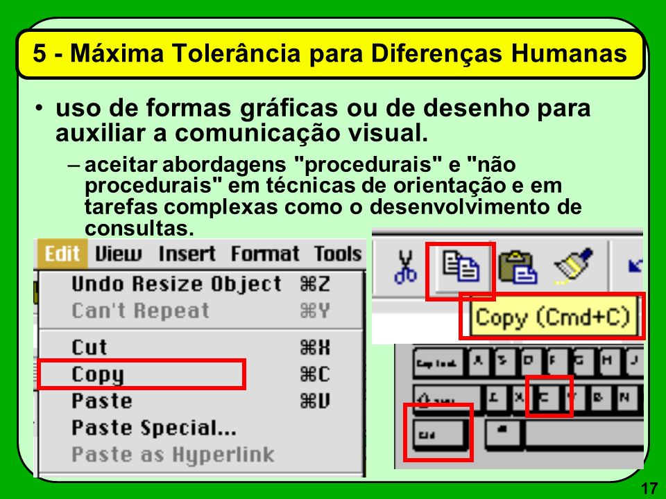 17 uso de formas gráficas ou de desenho para auxiliar a comunicação visual. –aceitar abordagens
