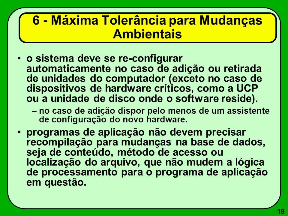 19 o sistema deve se re-configurar automaticamente no caso de adição ou retirada de unidades do computador (exceto no caso de dispositivos de hardware