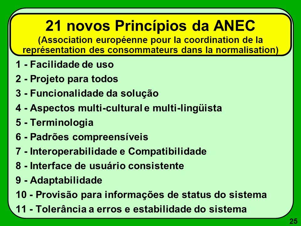 25 21 novos Princípios da ANEC (Association européenne pour la coordination de la représentation des consommateurs dans la normalisation) 1 - Facilida