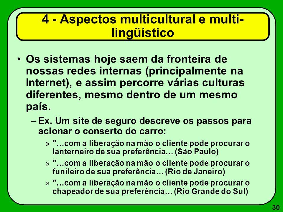 30 4 - Aspectos multicultural e multi- lingüístico Os sistemas hoje saem da fronteira de nossas redes internas (principalmente na Internet), e assim p