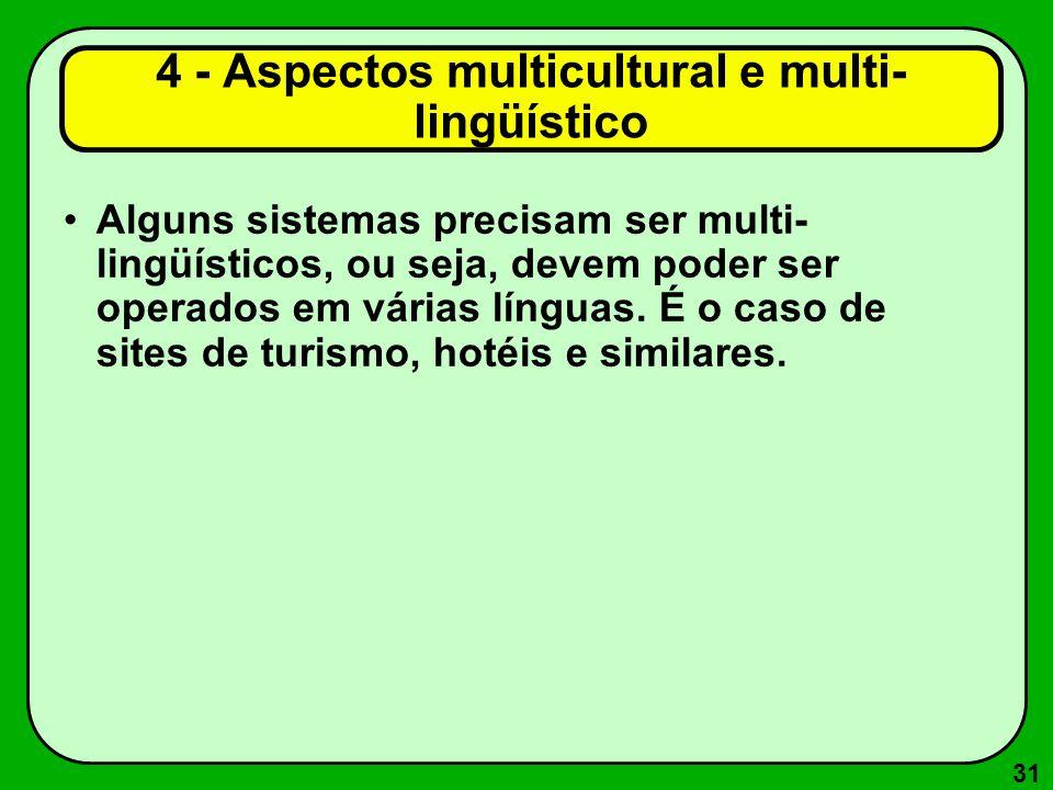 31 Alguns sistemas precisam ser multi- lingüísticos, ou seja, devem poder ser operados em várias línguas. É o caso de sites de turismo, hotéis e simil
