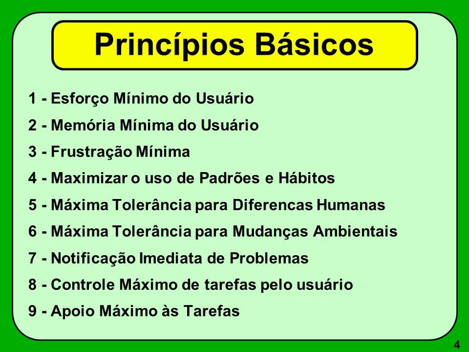 4 Princípios Básicos 1 - Esforço Mínimo do Usuário 2 - Memória Mínima do Usuário 3 - Frustração Mínima 4 - Maximizar o uso de Padrões e Hábitos 5 - Má