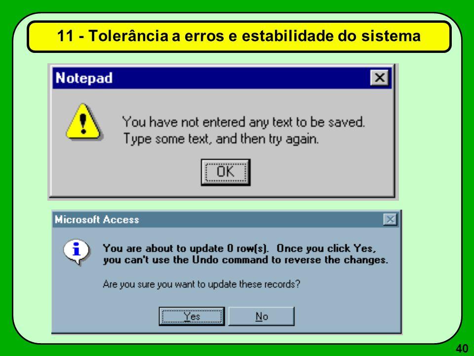 40 11 - Tolerância a erros e estabilidade do sistema