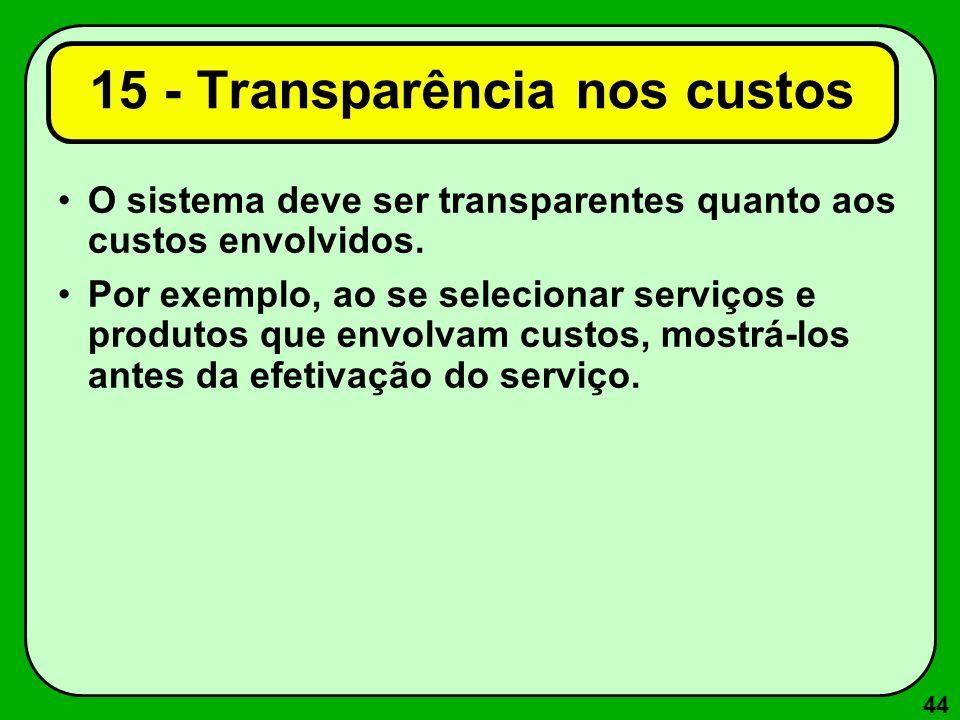 44 15 - Transparência nos custos O sistema deve ser transparentes quanto aos custos envolvidos. Por exemplo, ao se selecionar serviços e produtos que