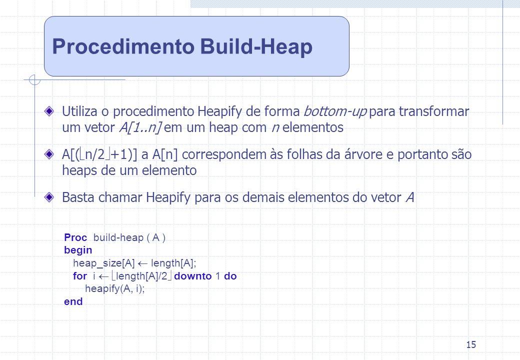 15 Utiliza o procedimento Heapify de forma bottom-up para transformar um vetor A[1..n] em um heap com n elementos A[( n/2 +1)] a A[n] correspondem às
