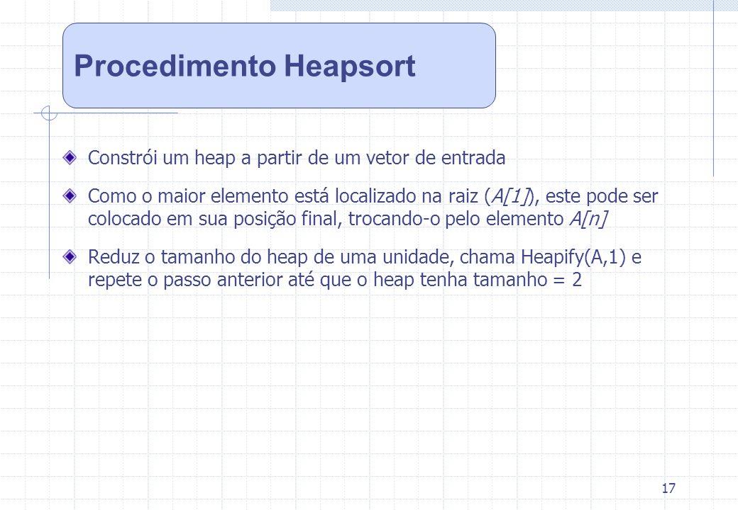 17 Constrói um heap a partir de um vetor de entrada Como o maior elemento está localizado na raiz (A[1]), este pode ser colocado em sua posição final,
