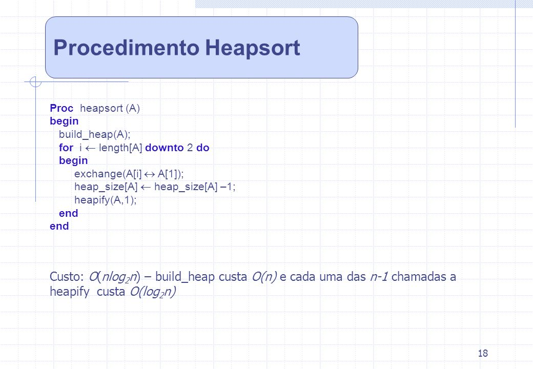 18 Procedimento Heapsort Proc heapsort (A) begin build_heap(A); for i length[A] downto 2 do begin exchange(A[i] A[1]); heap_size[A] heap_size[A] –1; h