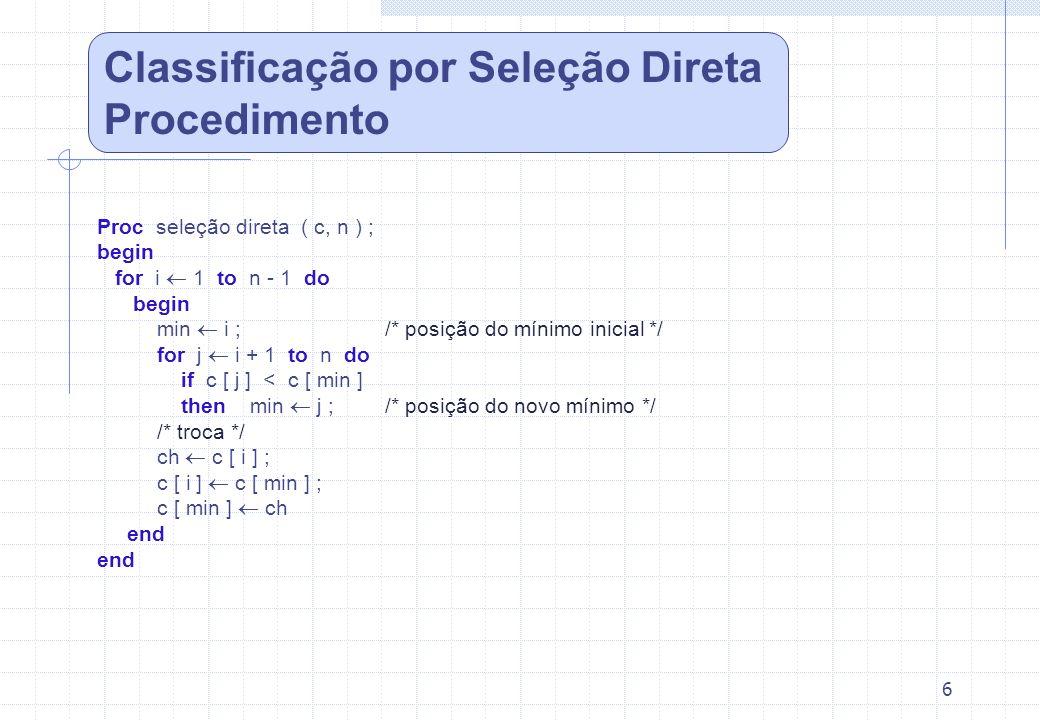 6 Proc seleção direta ( c, n ) ; begin for i 1 to n - 1 do begin min i ;/* posição do mínimo inicial */ for j i + 1 to n do if c [ j ] < c [ min ] the