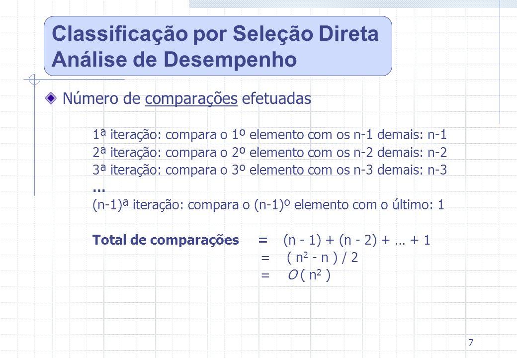 7 Número de comparações efetuadas 1ª iteração: compara o 1º elemento com os n-1 demais: n-1 2ª iteração: compara o 2º elemento com os n-2 demais: n-2