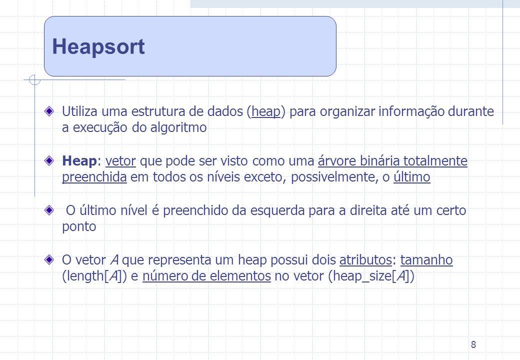 8 Utiliza uma estrutura de dados (heap) para organizar informação durante a execução do algoritmo Heap: vetor que pode ser visto como uma árvore binár