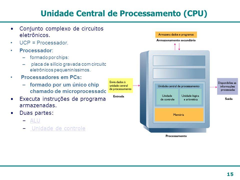 15 Unidade Central de Processamento (CPU) Conjunto complexo de circuitos eletrônicos. UCP = Processador. Processador: –formado por chips: – placa de s