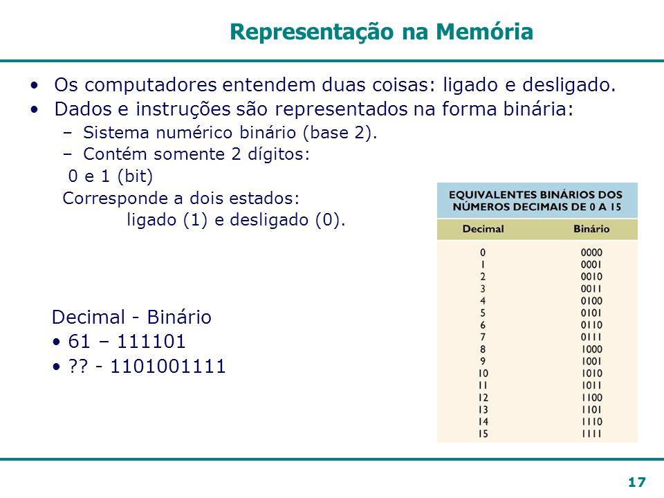 17 Representação na Memória Os computadores entendem duas coisas: ligado e desligado. Dados e instruções são representados na forma binária: –Sistema