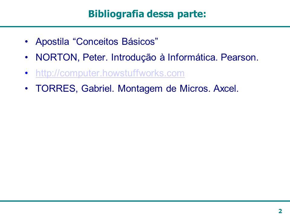 2 Bibliografia dessa parte: Apostila Conceitos Básicos NORTON, Peter. Introdução à Informática. Pearson. http://computer.howstuffworks.com TORRES, Gab