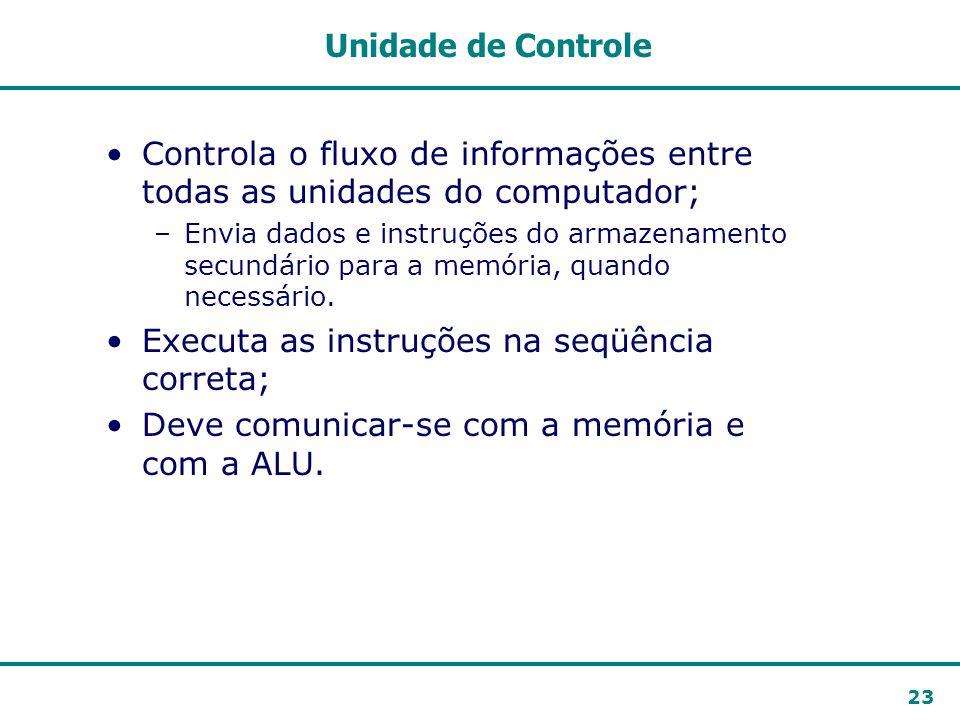 23 Unidade de Controle Controla o fluxo de informações entre todas as unidades do computador; –Envia dados e instruções do armazenamento secundário pa