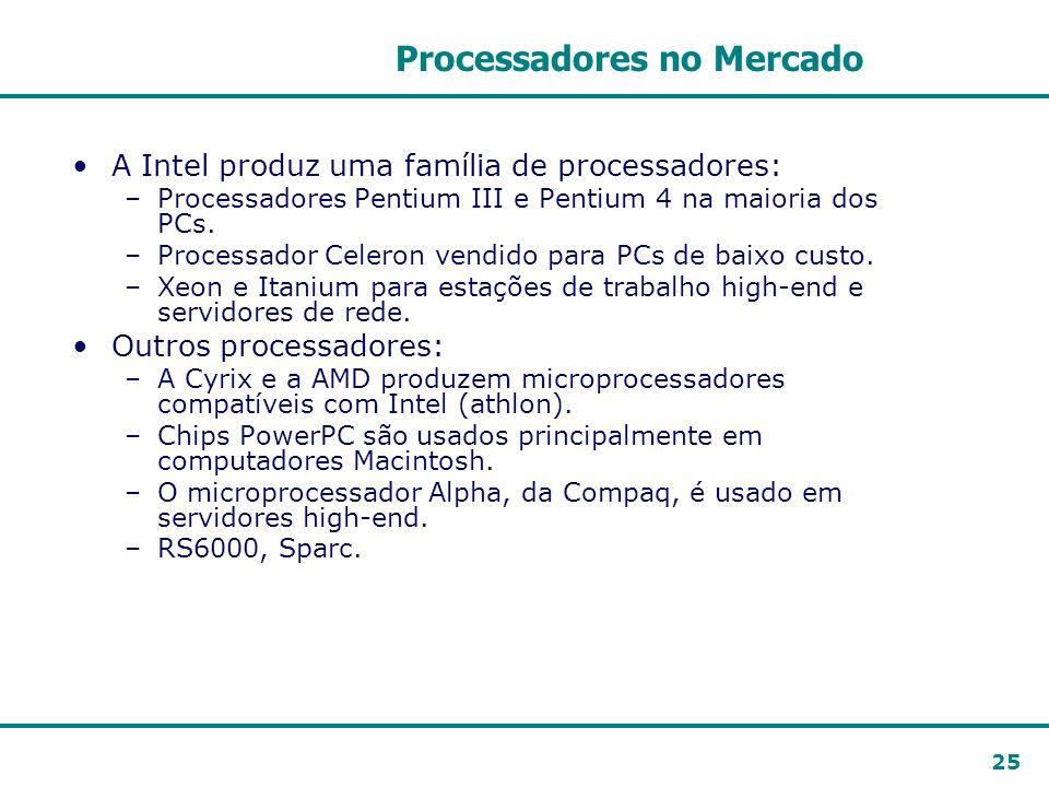 25 Processadores no Mercado A Intel produz uma família de processadores: –Processadores Pentium III e Pentium 4 na maioria dos PCs. –Processador Celer