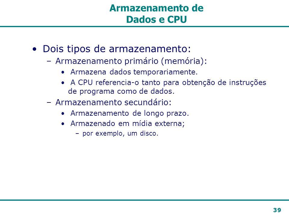 39 Armazenamento de Dados e CPU Dois tipos de armazenamento: –Armazenamento primário (memória): Armazena dados temporariamente. A CPU referencia-o tan