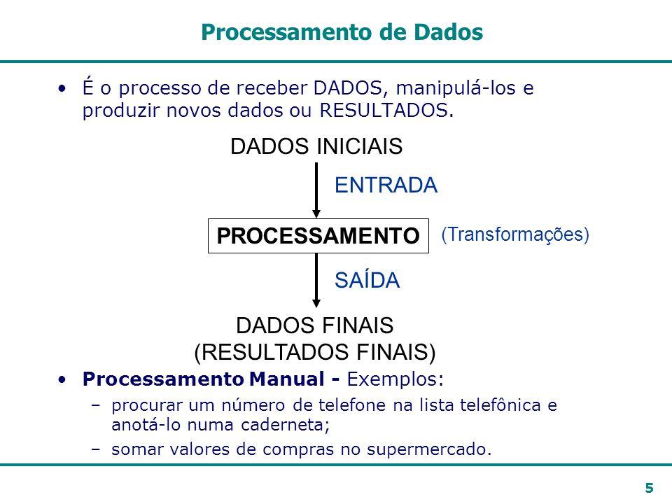 5 PROCESSAMENTO DADOS INICIAIS DADOS FINAIS (RESULTADOS FINAIS) ENTRADA SAÍDA (Transformações) Processamento de Dados É o processo de receber DADOS, m