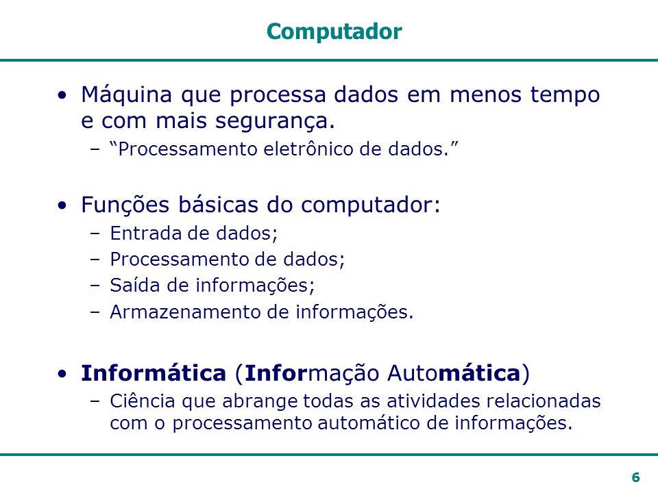 6 Computador Máquina que processa dados em menos tempo e com mais segurança. –Processamento eletrônico de dados. Funções básicas do computador: –Entra