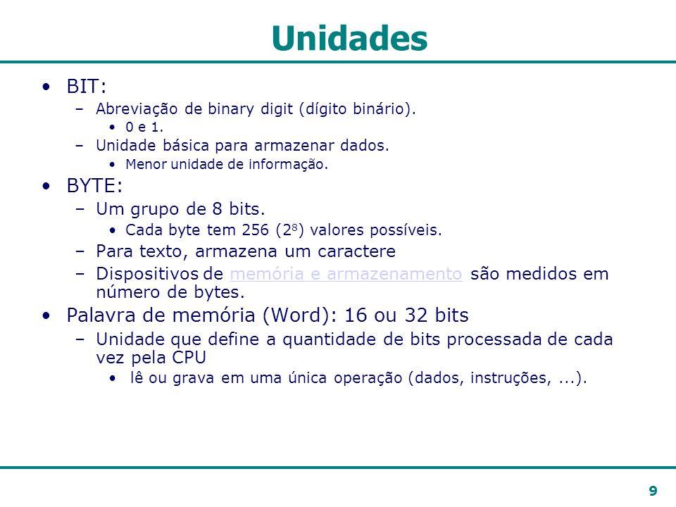9 Unidades BIT: –Abreviação de binary digit (dígito binário). 0 e 1. –Unidade básica para armazenar dados. Menor unidade de informação. BYTE: –Um grup