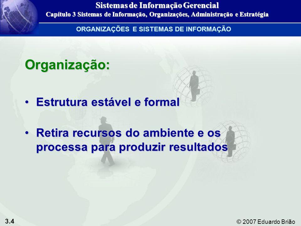 3.25 © 2007 Eduardo Brião SPT SAE SIG STC SAD SAE Nível organizacional TIPO DE DECISÃOOPERACIONALCONHECIMENTOGERENCIALESTRATÉGICO ESTRUTURADA CONTAS A RECEBER AGENDAMENTO CUSTOS ELETRÔNICO DE PRODUÇÃO SEMI-PREPARAÇÃO DO ORÇAMENTO ESTRUTURADA PROGRAMAÇÃO DE PROJETO LOCALIZAÇÃO DAS INSTALAÇÕES NÃO- ESTRUTURADA DESIGN DE PRODUTO NOVOS PRODUTOS NOVOS MERCADOS Figura 3-9 Diferentes tipos de sistemas de informação GERENTES, TOMADA DE DECISÃO E SISTEMAS DE INFORMAÇÃO Sistemas de Informação Gerencial Capítulo 3 Sistemas de Informação, Organizações, Administração e Estratégia