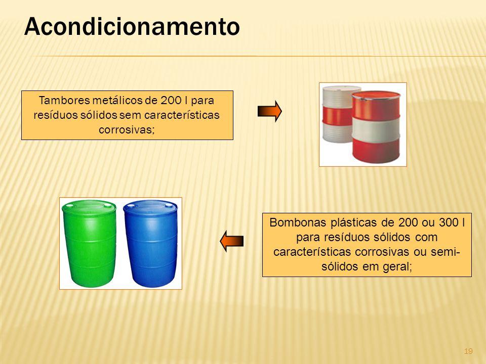 Acondicionamento Tambores metálicos de 200 l para resíduos sólidos sem características corrosivas; Bombonas plásticas de 200 ou 300 l para resíduos só