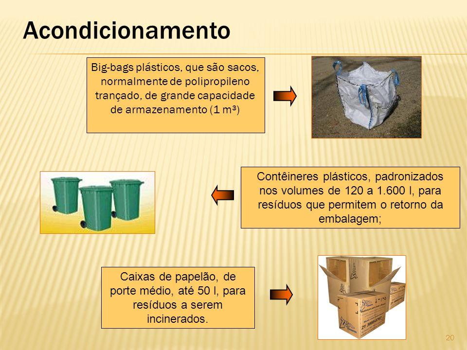Acondicionamento Big-bags plásticos, que são sacos, normalmente de polipropileno trançado, de grande capacidade de armazenamento (1 m³) Caixas de pape