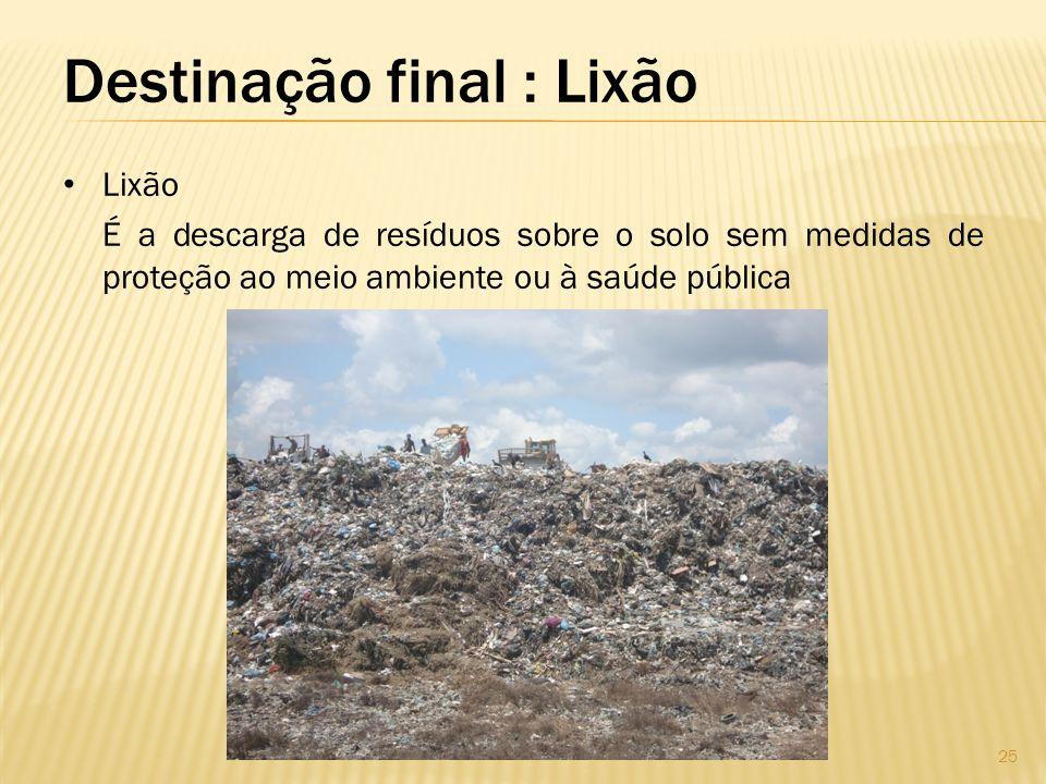 Destinação final : Lixão Lixão É a descarga de resíduos sobre o solo sem medidas de proteção ao meio ambiente ou à saúde pública 25