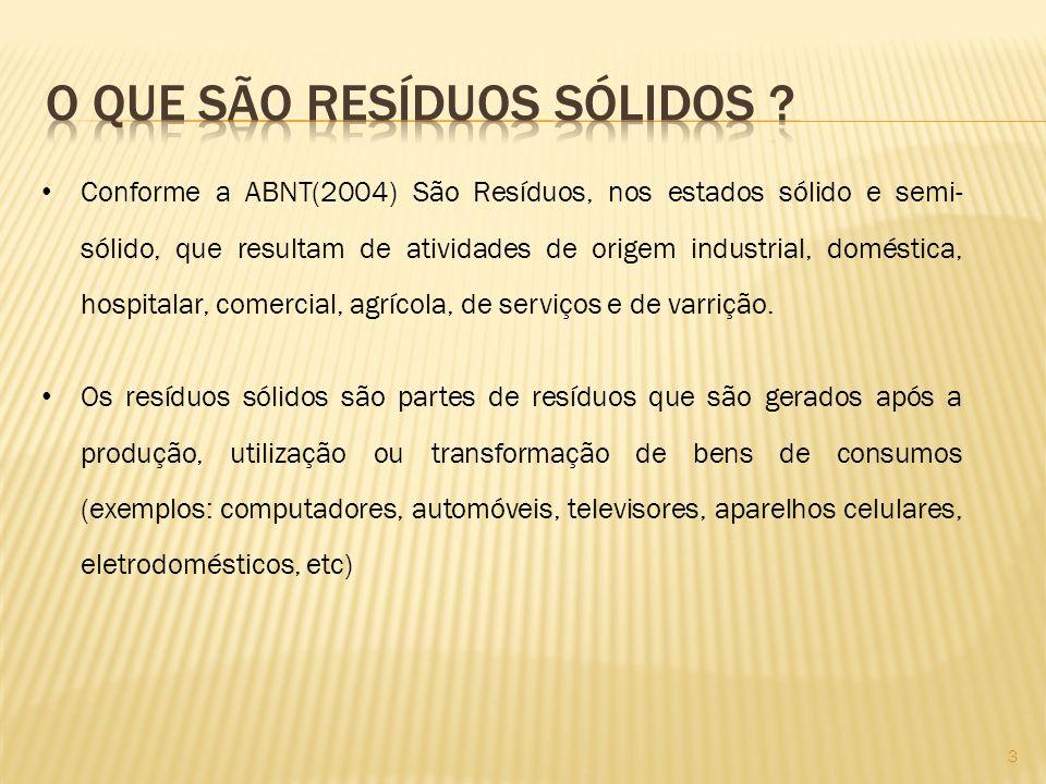 Conforme a ABNT(2004) São Resíduos, nos estados sólido e semi- sólido, que resultam de atividades de origem industrial, doméstica, hospitalar, comerci