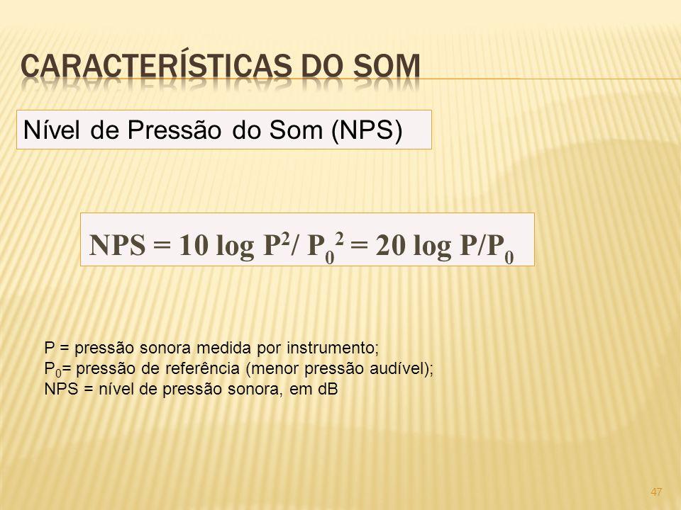Nível de Pressão do Som (NPS) NPS = 10 log P 2 / P 0 2 = 20 log P/P 0 P = pressão sonora medida por instrumento; P 0 = pressão de referência (menor pr