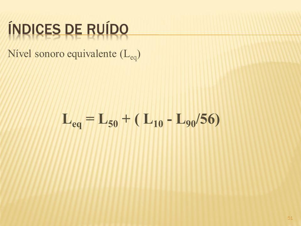 Nível sonoro equivalente (L eq ) L eq = L 50 + ( L 10 - L 90 /56) 51