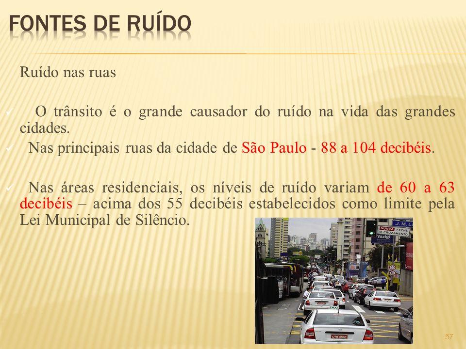 Ruído nas ruas O trânsito é o grande causador do ruído na vida das grandes cidades. Nas principais ruas da cidade de São Paulo - 88 a 104 decibéis. Na