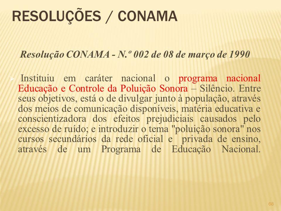 RESOLUÇÕES / CONAMA Resolução CONAMA - N.º 002 de 08 de março de 1990 Instituiu em caráter nacional o programa nacional Educação e Controle da Poluiçã