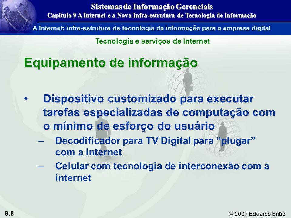 9.9 © 2007 Eduardo Brião Computação cliente/servidor na Internet Figura 9-3 Sistemas de Informação Gerenciais Capítulo 9 A Internet e a Nova Infra-estrutura de Tecnologia de Informação A Internet: infra-estrutura de tecnologia da informação para a empresa digital